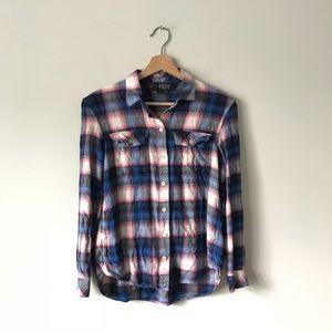 cb58f42a351cd Pendleton Tops - GAP + Pendleton Plaid Flannel Shirt Top Blue Pink